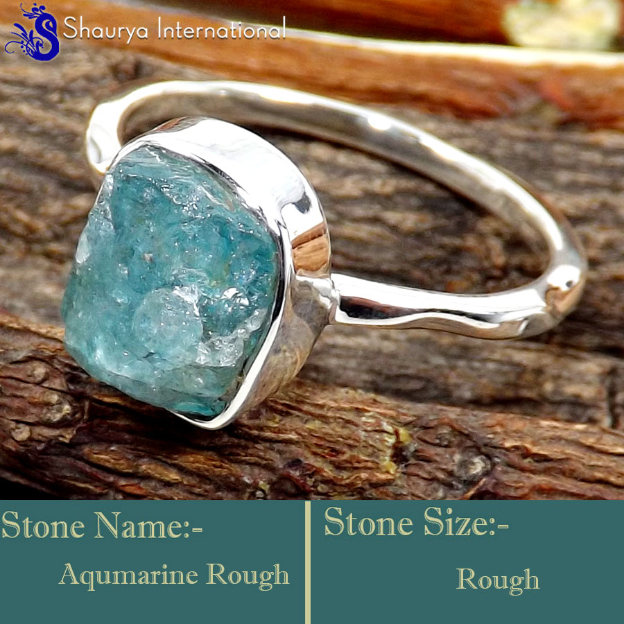 Aquamarine Rough I - SRR996-925 Sterling Silver Fabulous Rough Gemstone Rings Company