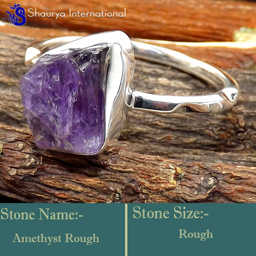 Amethyst Rough O - SRR996-925 Sterling Silver Fabulous Rough Gemstone Rings Company
