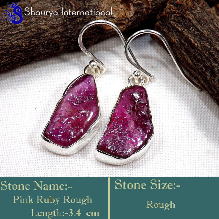 Pink Ruby Rough A - RGE977-Glorious Design Handmade Rough Gemstone Earrings 925 Ster