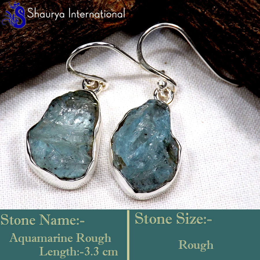 Aquamarine Rough B - RGE977-Glorious Design Handmade Rough Gemstone Earrings 925 Ster
