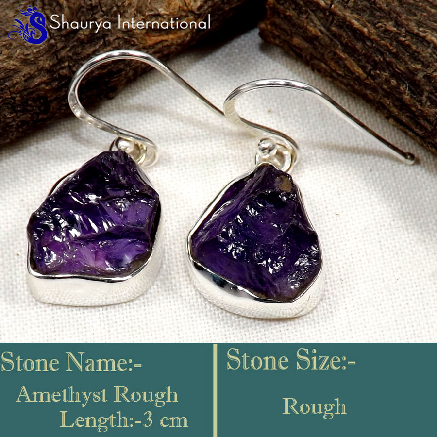 Amethyst Rough G - RGE977-Glorious Design Handmade Rough Gemstone Earrings 925 Ster
