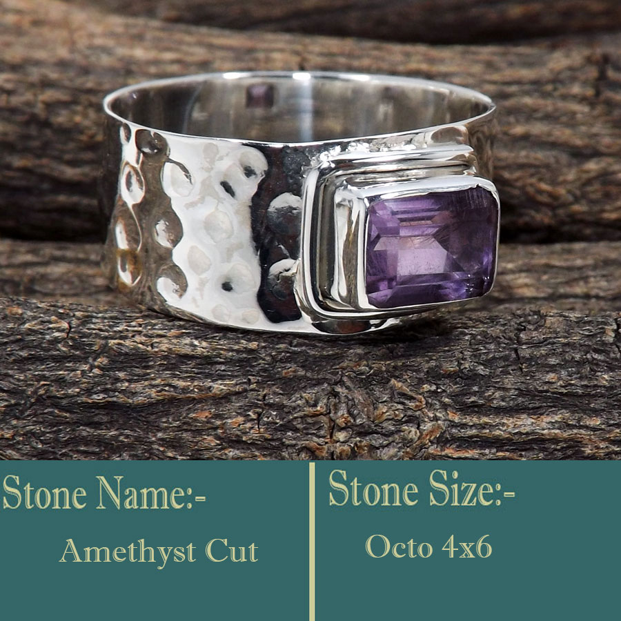 Amethyst Cut G - SDR604-Faceted Gemstone 925 Sterling Silver Handmade Direct Fact