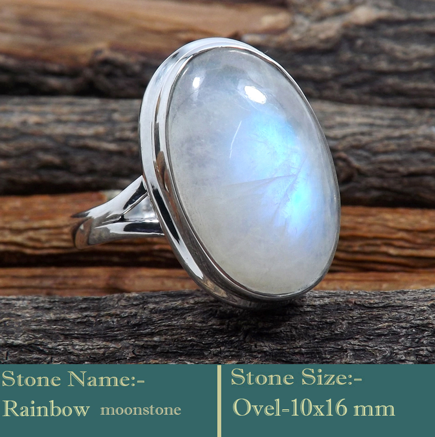 Rainbow Moonstone Cab H - RSS840-925 Silver Cab Gemstones Colourful Designer Ring Wholesal