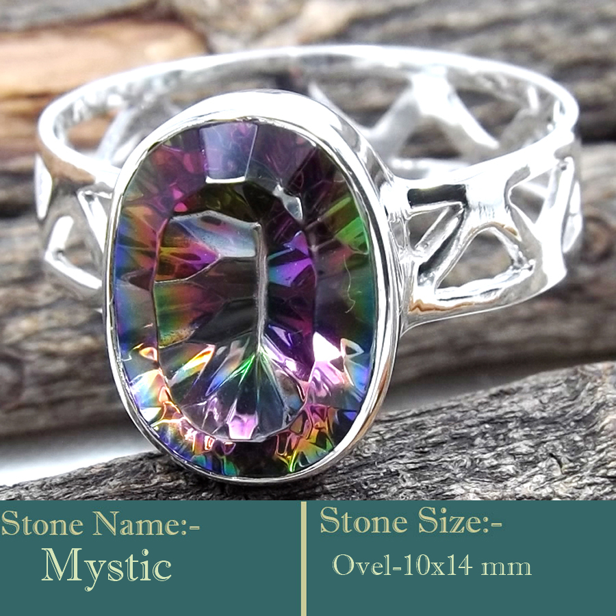 Mystic Cut E - SCR835-Awesome Look Handmade 925 Silver Cut Gemstone Rings
