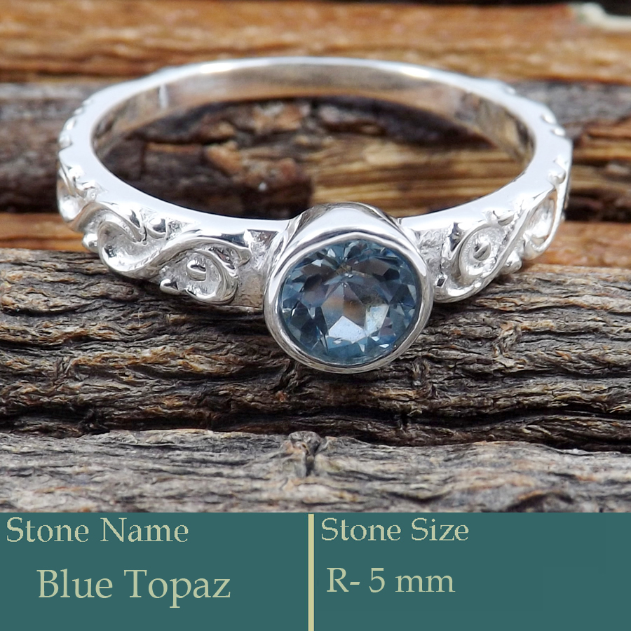 Blue Topaz Cut O - SCR819-Cut Gemstone Casting Ring Exclusive New Collection 925 Si