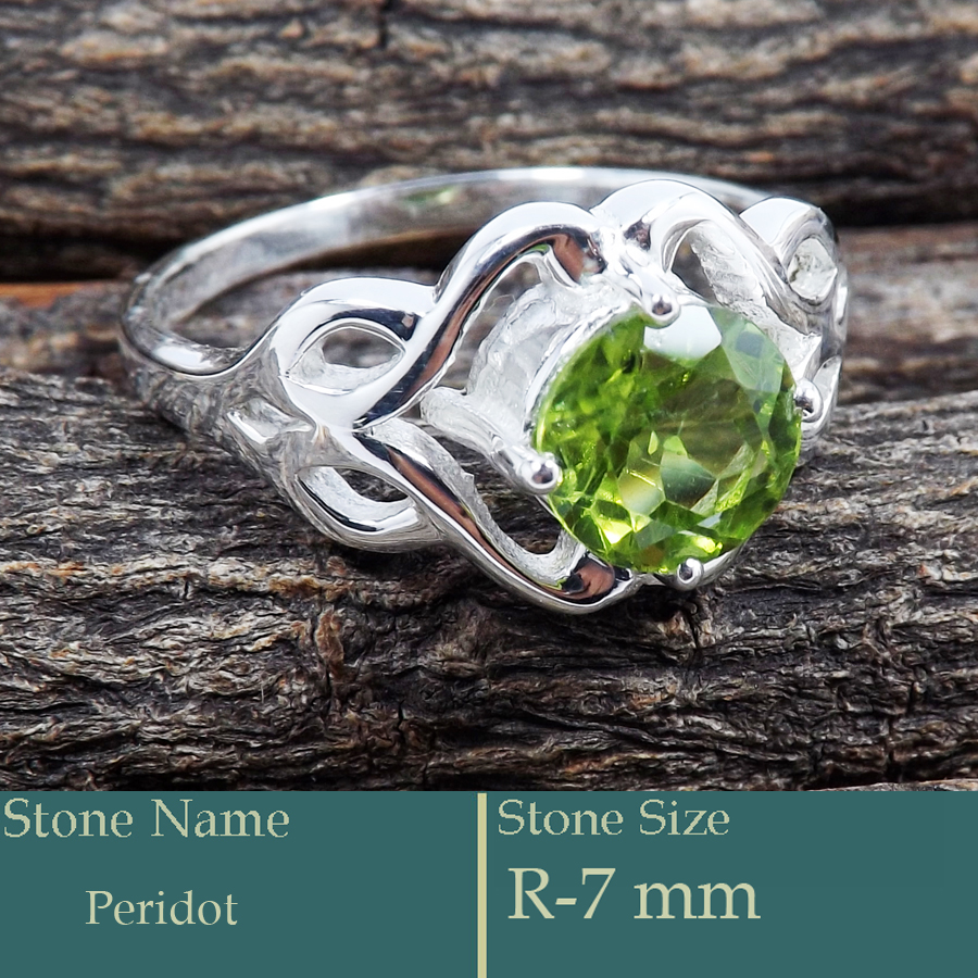 Peridot Cut O - SCR812-Excellent Design Cut Gemstone 925 Silver Solitaire Ring