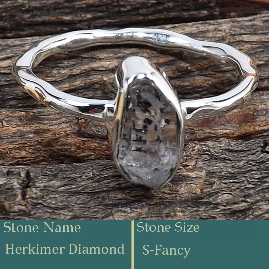 Herkimer Diamond Rough E - SRR988-Exclusive Pretty Rough Gemstone 925 Silver Ring Wholesale