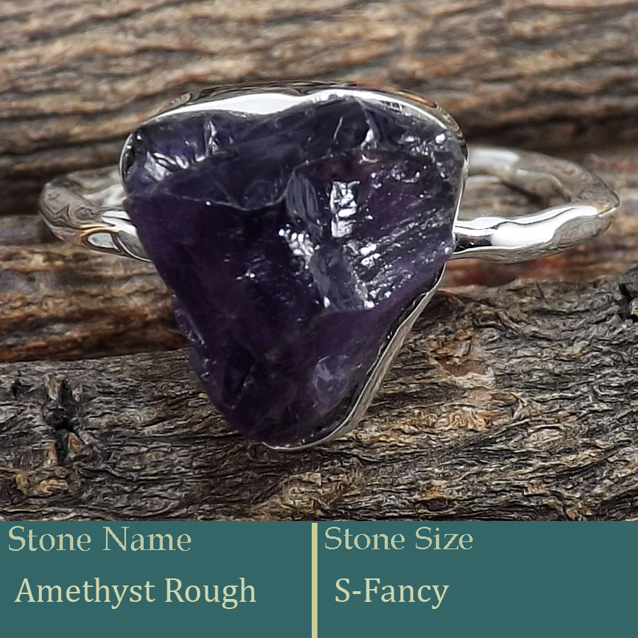 Amethyst Rough G - SRR988-Exclusive Pretty Rough Gemstone 925 Silver Ring Wholesale