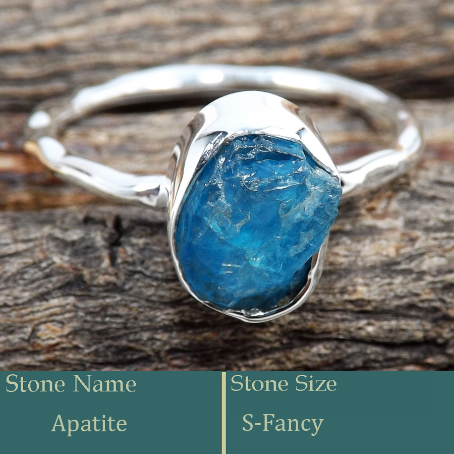 Apatite Rough G - SRR987-Charming Party Wear 925 Silver Ring Rough Gemstone Wholes