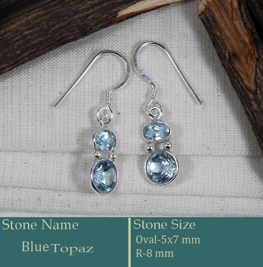 Blue Topaz Cut C - BZE738-Amazing Pretty Look Bezel Earrings Cut Gemstone 925 Sterl