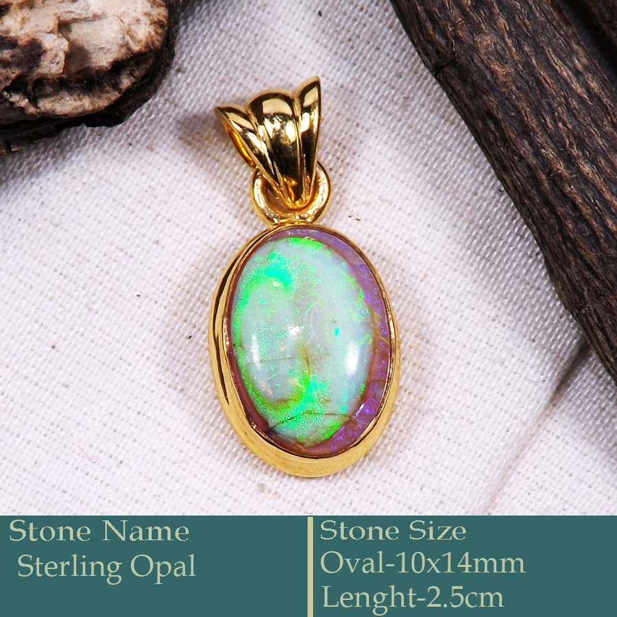 Sterling Opal Cab B - CMJ872-925 Silver 18K Gold Plated Pendant Pretty Look Handmade C