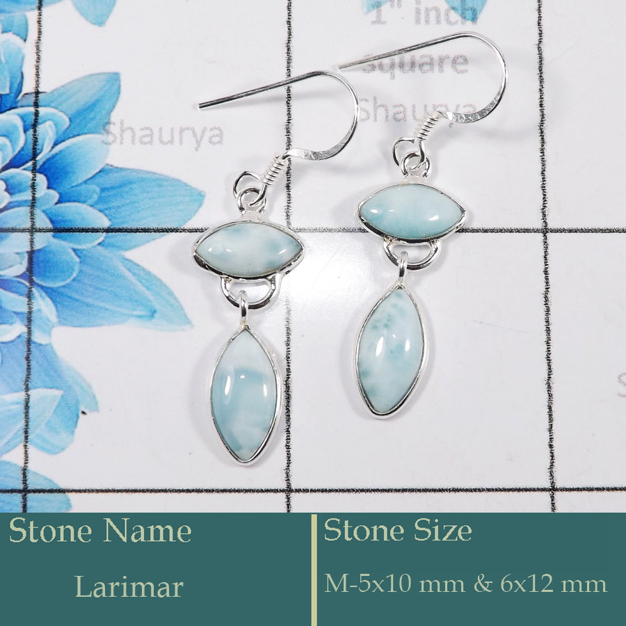 Larimar Cab I - BZE728-Gorgeous Party Wear 925 Silver Bezel Earrings Cut Gemston