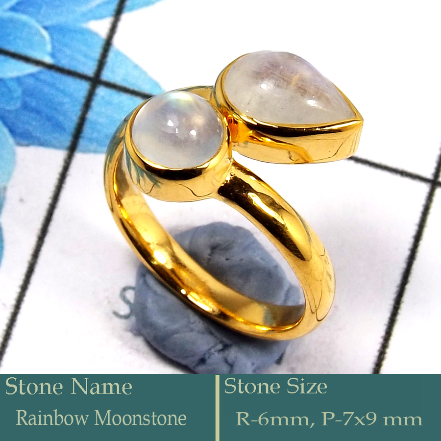 Rainbow Moonstone Cab G - CMJ851-Pretty Look 925 Silver 18K Gold Plated Ring Rainbow Moons