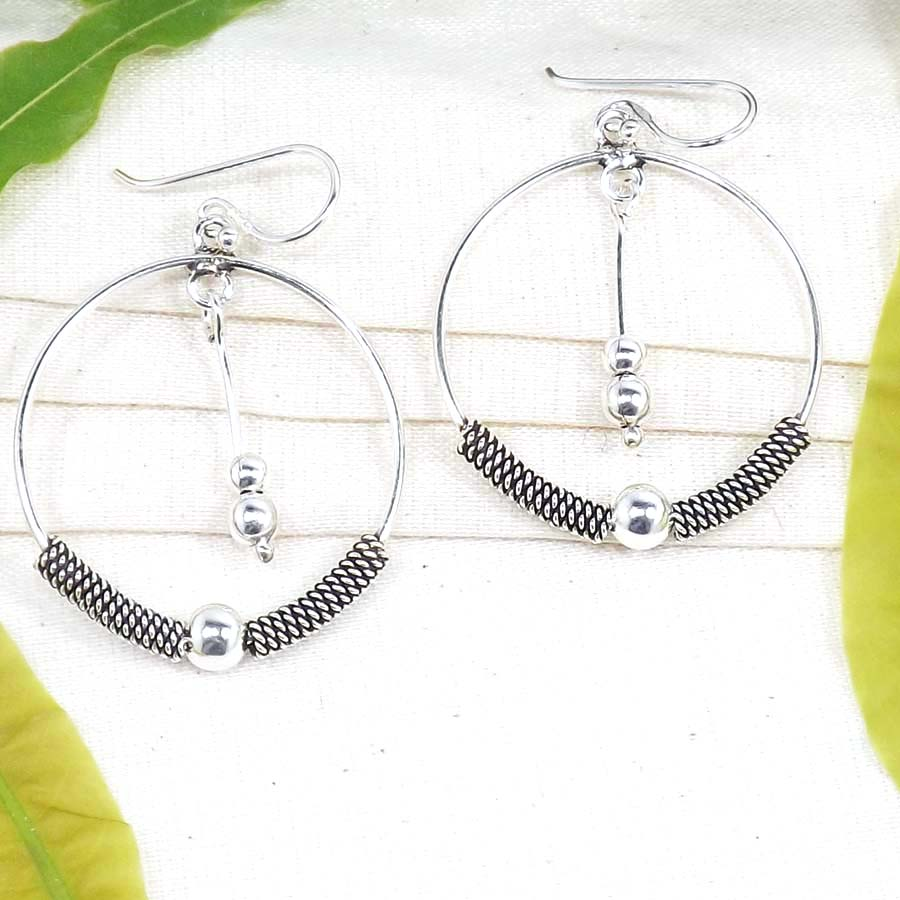 Plain Silver Earrings B - PCJ979-Classic Solid 925 Sterling Plain Silver Earrings Wholesal