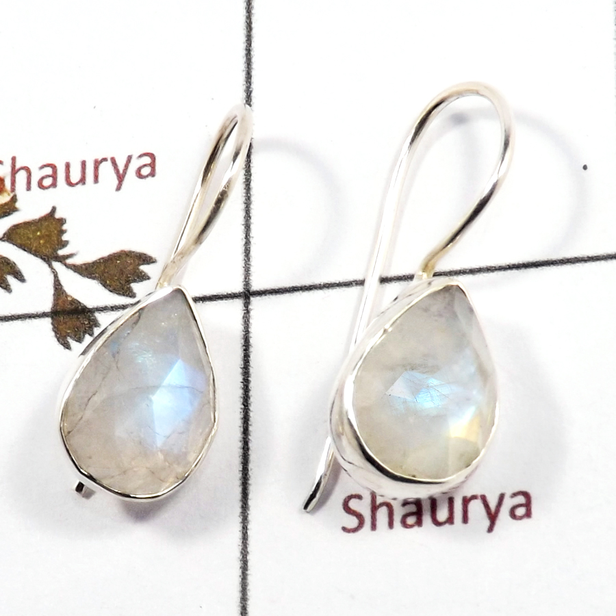 Rainbow Moonstone Cut O - SPE879-Latest Design 925 Silver Plain Setting Earrings Rainbow M