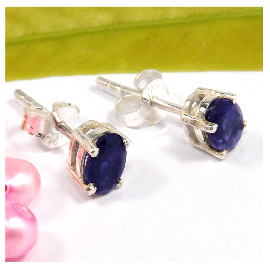 4x6mm Iolite Cut F - SSE847-4x6mm Oval Cut Gemstone Stud Earrings 925 Sterling Silver Wholesale Collection
