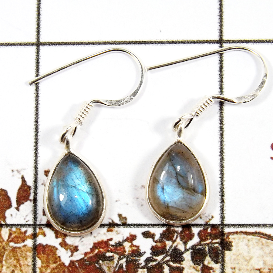 Labradorite Cab D - BZE714-Classic Light Weight Bezel Earrings 925 Sterling Silver Cab Gemstone Made By Indian Company