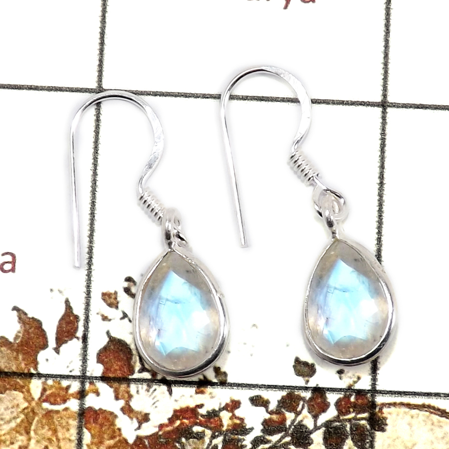Rainbow Moonstone Cut C - BZE713-Solid 925 Sterling Silver Bezel Earrings Cut Gemstone Wholesale Collection India