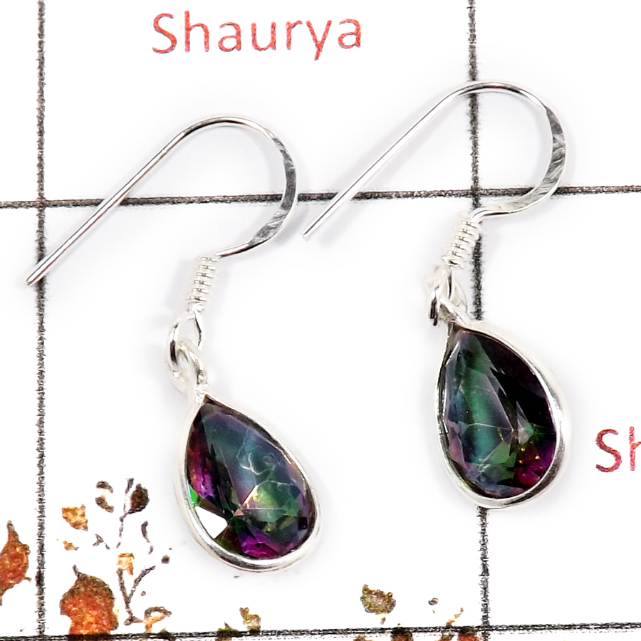 Mystic Cut O - BZE713-Solid 925 Sterling Silver Bezel Earrings Cut Gemstone Wholesale Collection India