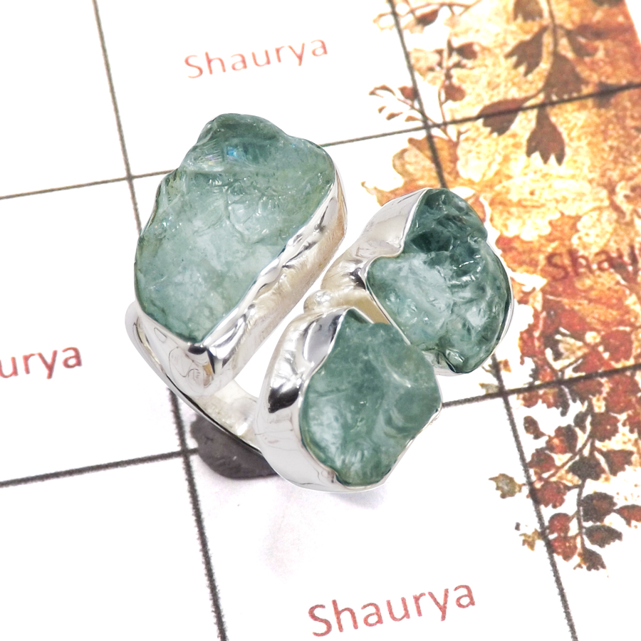Aquamarine Rough C - SRR983-Amazing Rough Gemstone Ring 925 Sterling Silver Handmade Collection