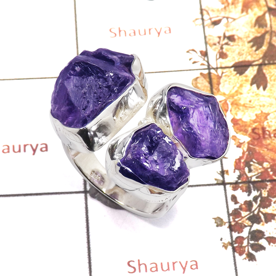 Amethyst Rough O - SRR983-Amazing Rough Gemstone Ring 925 Sterling Silver Handmade Collection