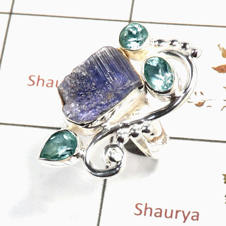 Tanzanite Rough & Blue Topaz Cut B - SRR982-Indian Company Made Rough Gemstone Ring 925 Sterling Silver