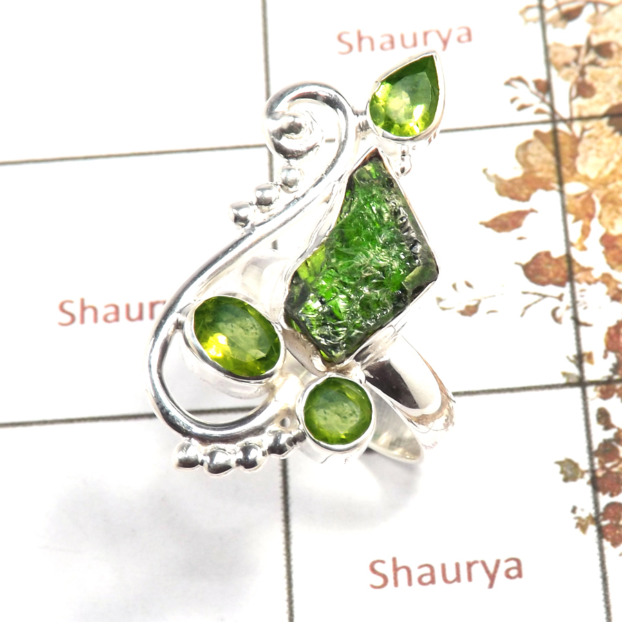 Chrome Diopside Rough & Peridot Cut D - SRR982-Indian Company Made Rough Gemstone Ring 925 Sterling Silver