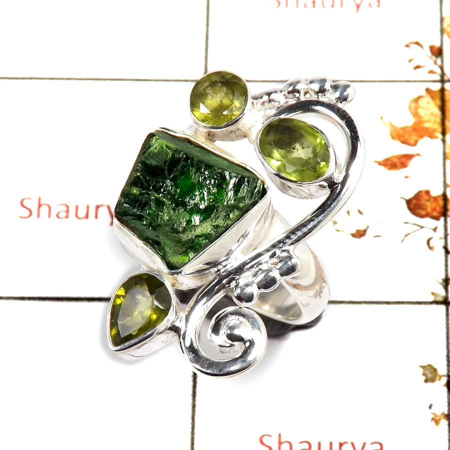 Chrome Diopside Rough & Peridot Cut E - SRR982-Indian Company Made Rough Gemstone Ring 925 Sterling Silver