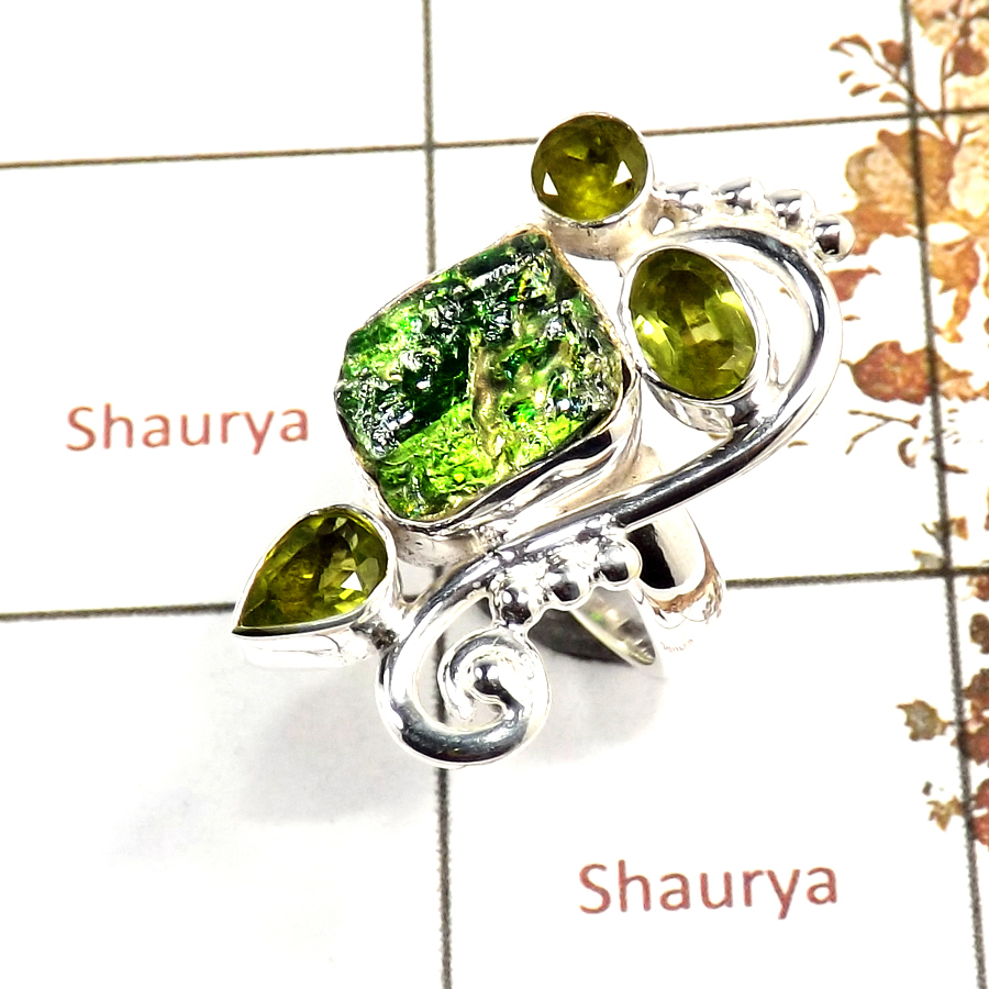 Chrome Diopside Rough & Peridot Cut O - SRR982-Indian Company Made Rough Gemstone Ring 925 Sterling Silver