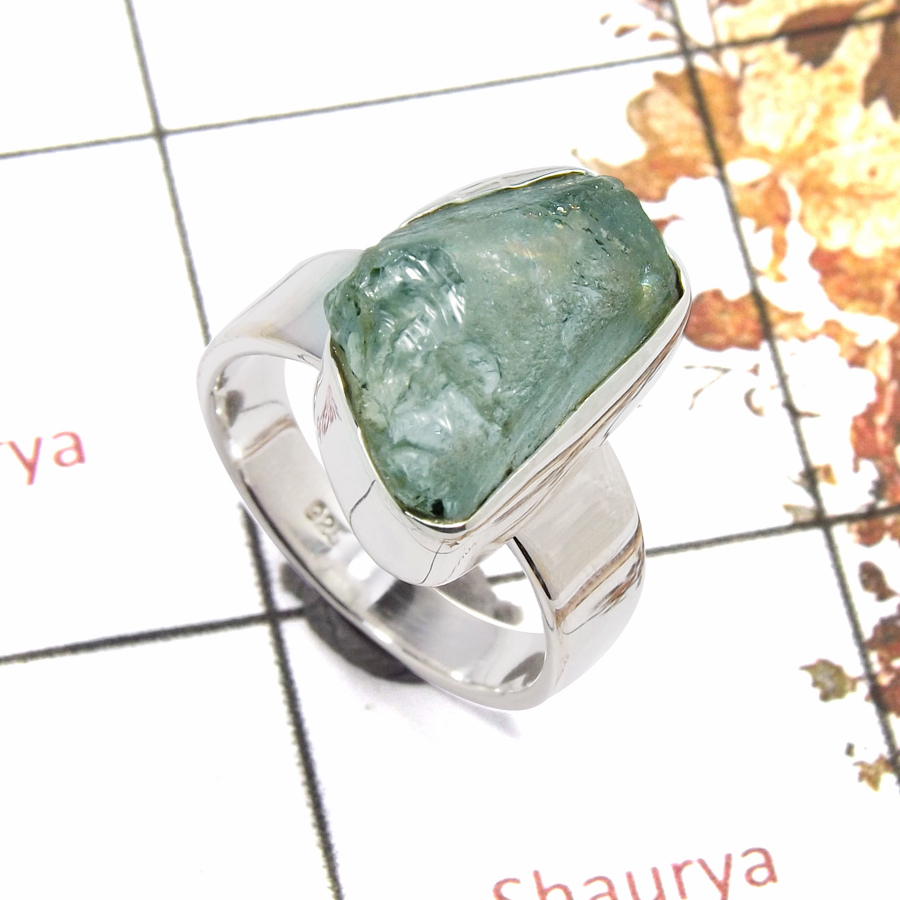 Aquamarine Rough A - SRR981-Party Wear Rough Gemstone Ring 925 Sterling Silver Plain Setting Collection
