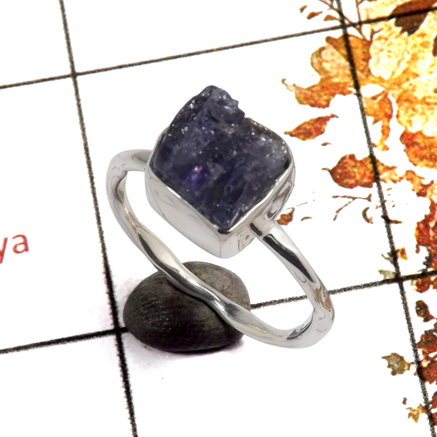 Tanzanite Rough B - SRR980-Handmade Design Rough Stone Light Weight Ring Solid 925 Sterling Silver