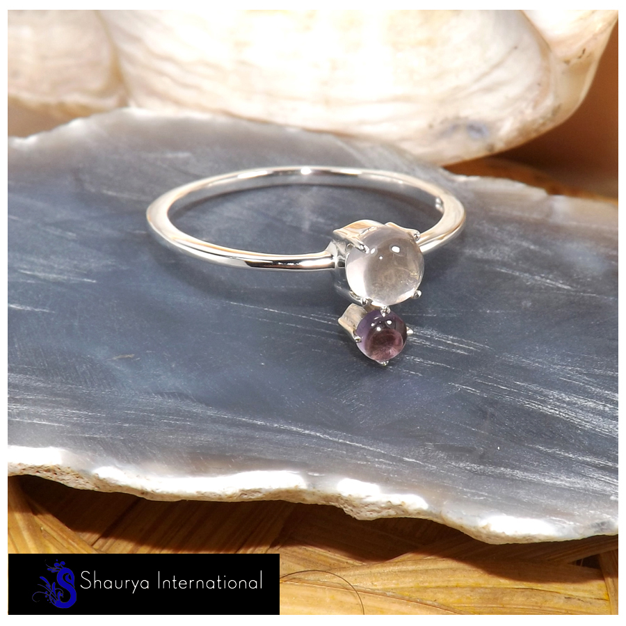 Rose Quartz & Amethyst Cab E - SFJ908-Superb Light Weight Cab & Cut Two Stone Midi Ring 925 Sterling Silver