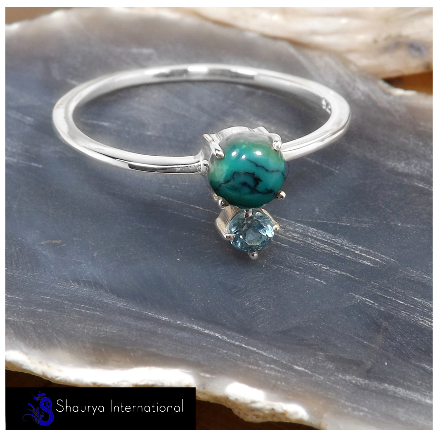 Tibet Turquoise Cab & Blue Topaz Cut F - SFJ908-Superb Light Weight Cab & Cut Two Stone Midi Ring 925 Sterling Silver