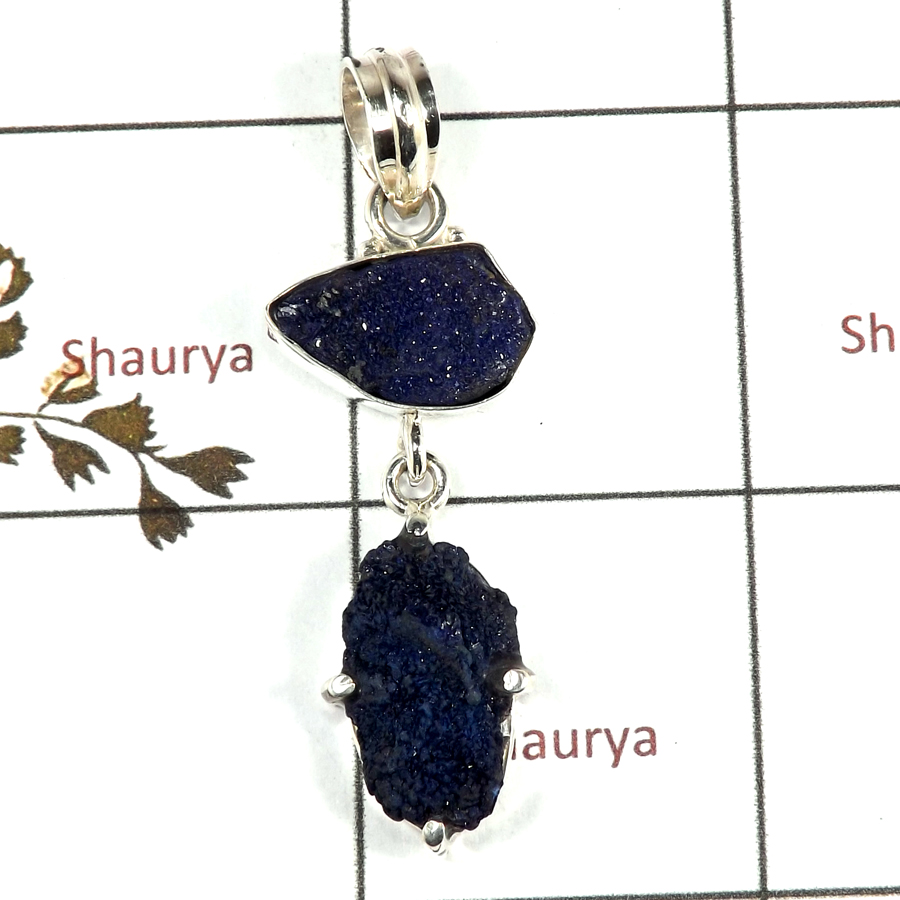 Azurite Rough A - RPP973-Handmade Collection Rough Gemstone Heavy Pendant 925 Sterling Silver