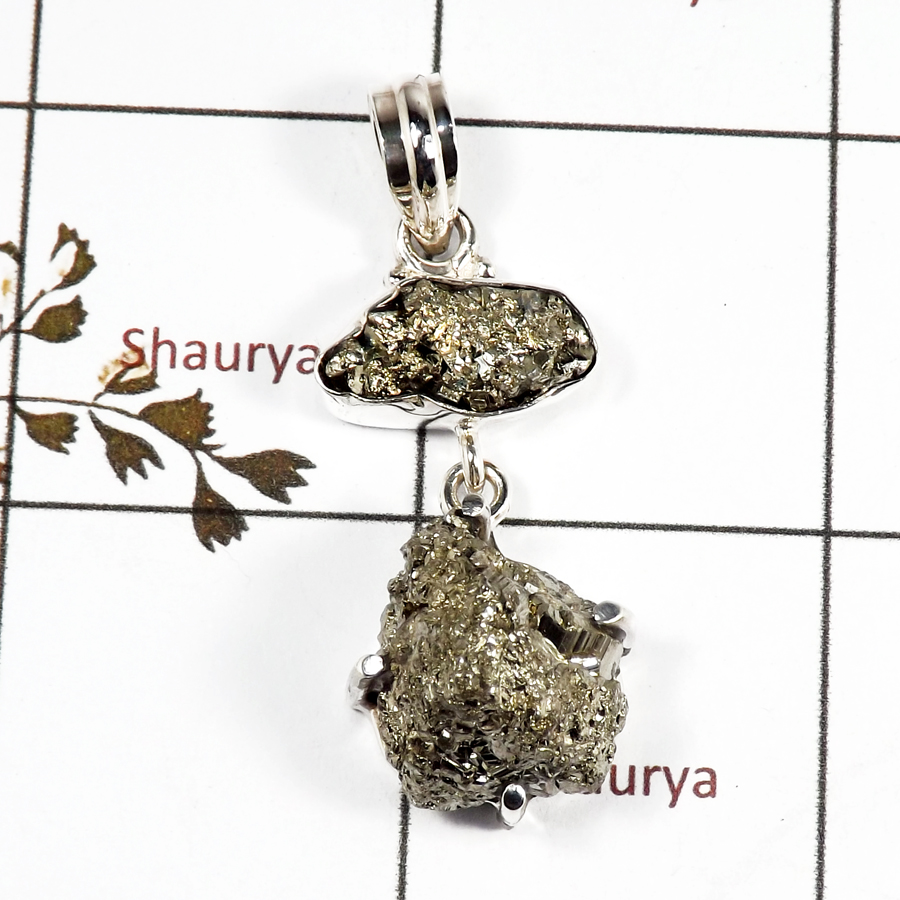Pyrite Druzy B - RPP973-Handmade Collection Rough Gemstone Heavy Pendant 925 Sterling Silver