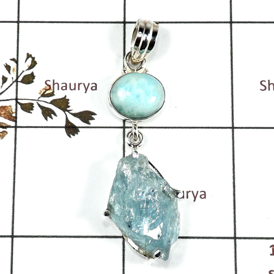 Aquamarine Rough & Larimar Cab D - RPP973-Handmade Collection Rough Gemstone Heavy Pendant 925 Sterling Silver