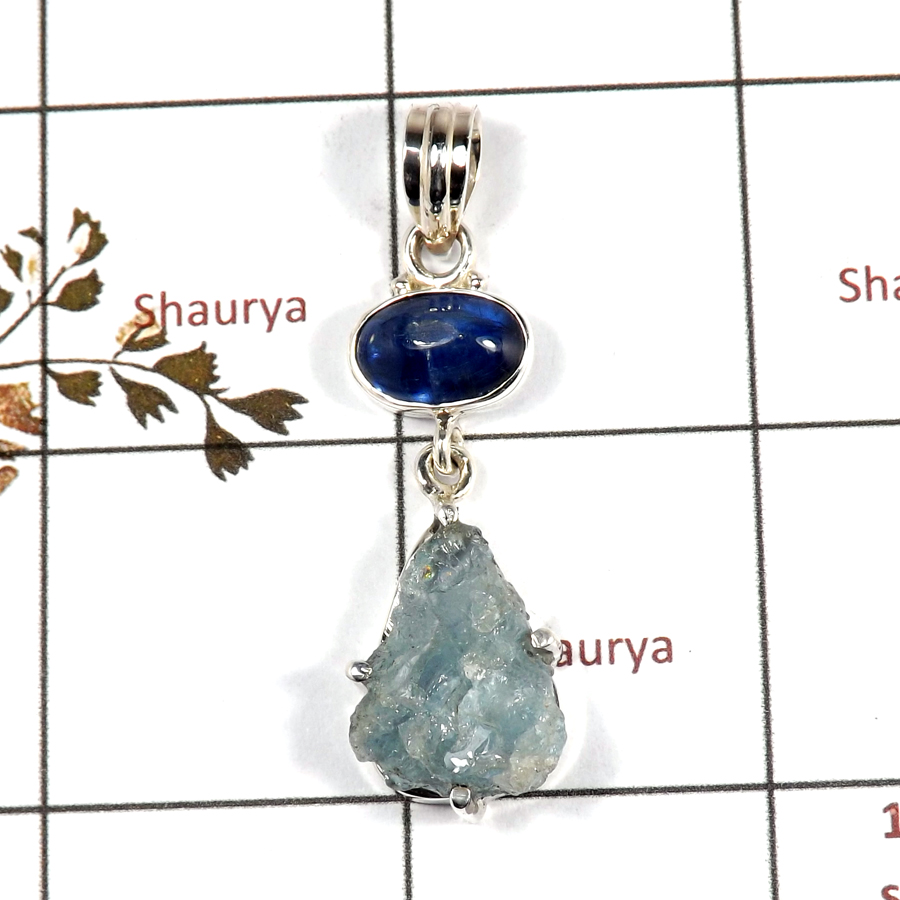 Aquamarine Rough & Kyanite Cab E - RPP973-Handmade Collection Rough Gemstone Heavy Pendant 925 Sterling Silver