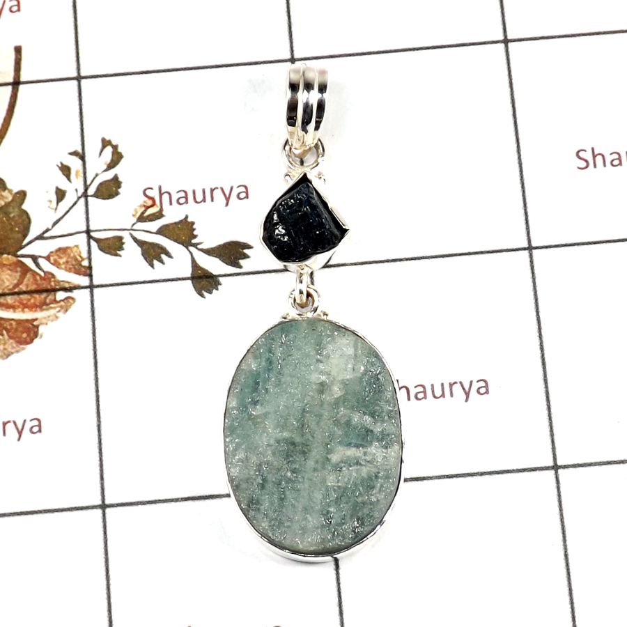 Aquamarine Druzy & Apatite Rough F - RPP973-Handmade Collection Rough Gemstone Heavy Pendant 925 Sterling Silver