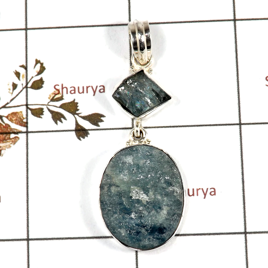 Aquamarine Druzy G - RPP973-Handmade Collection Rough Gemstone Heavy Pendant 925 Sterling Silver
