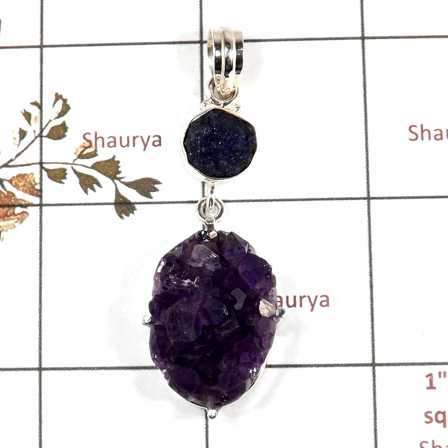 Amethyst Druzy & Azurite Rough H - RPP973-Handmade Collection Rough Gemstone Heavy Pendant 925 Sterling Silver