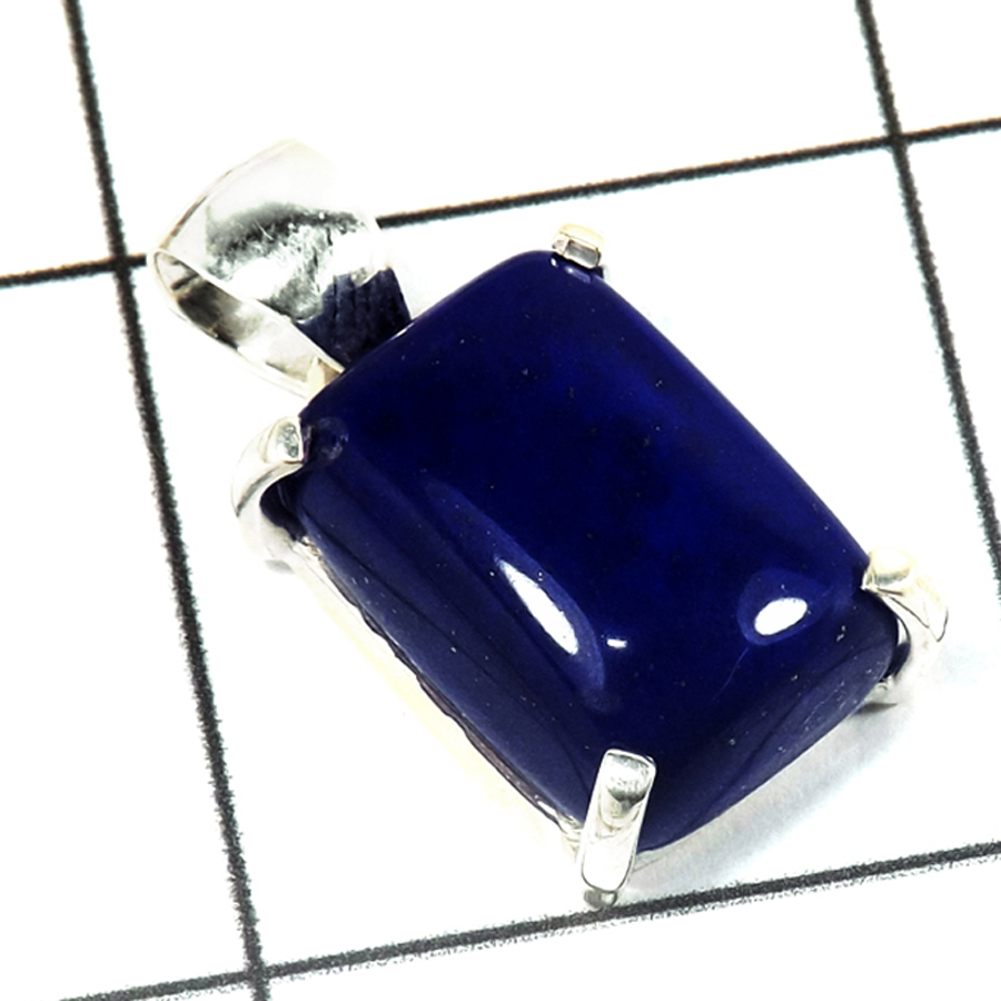 Lapis Cab O - SPS901-Beautiful Collection Cab Gemstone Prong Setting Pendant 925 Sterling Silver