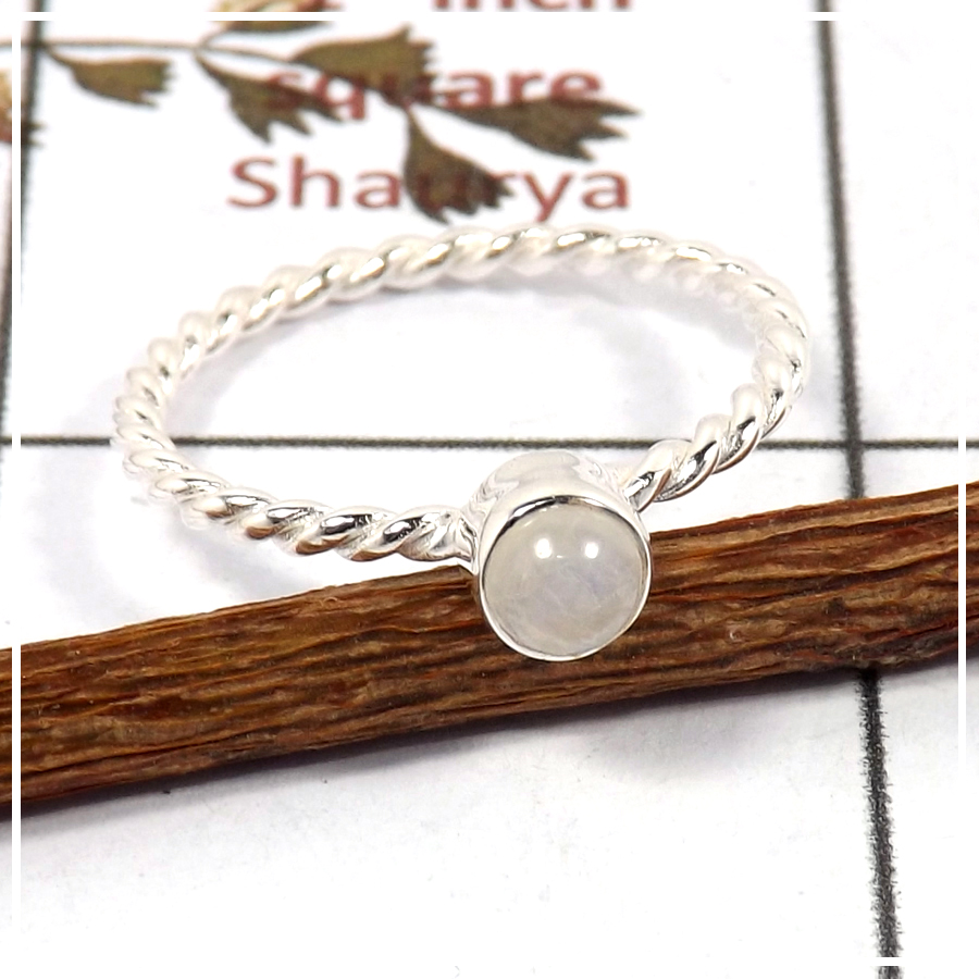 Rainbow Moonstone Cab F - STK935-Solid 925 Silver Light Weight Women Stacking Ring Cab & Cut Gemstone