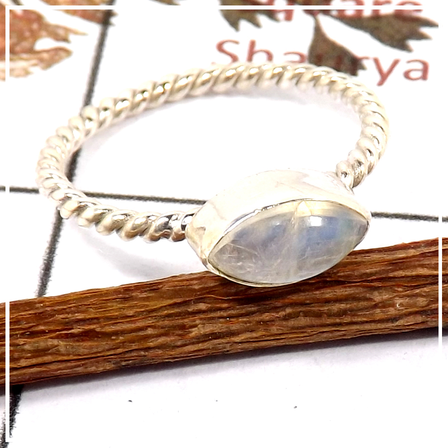 Rainbow Moonstone Cab O - STK933-Light Weight Cab & Cut Gemstone Stacking Ring 925 Sterling Silver