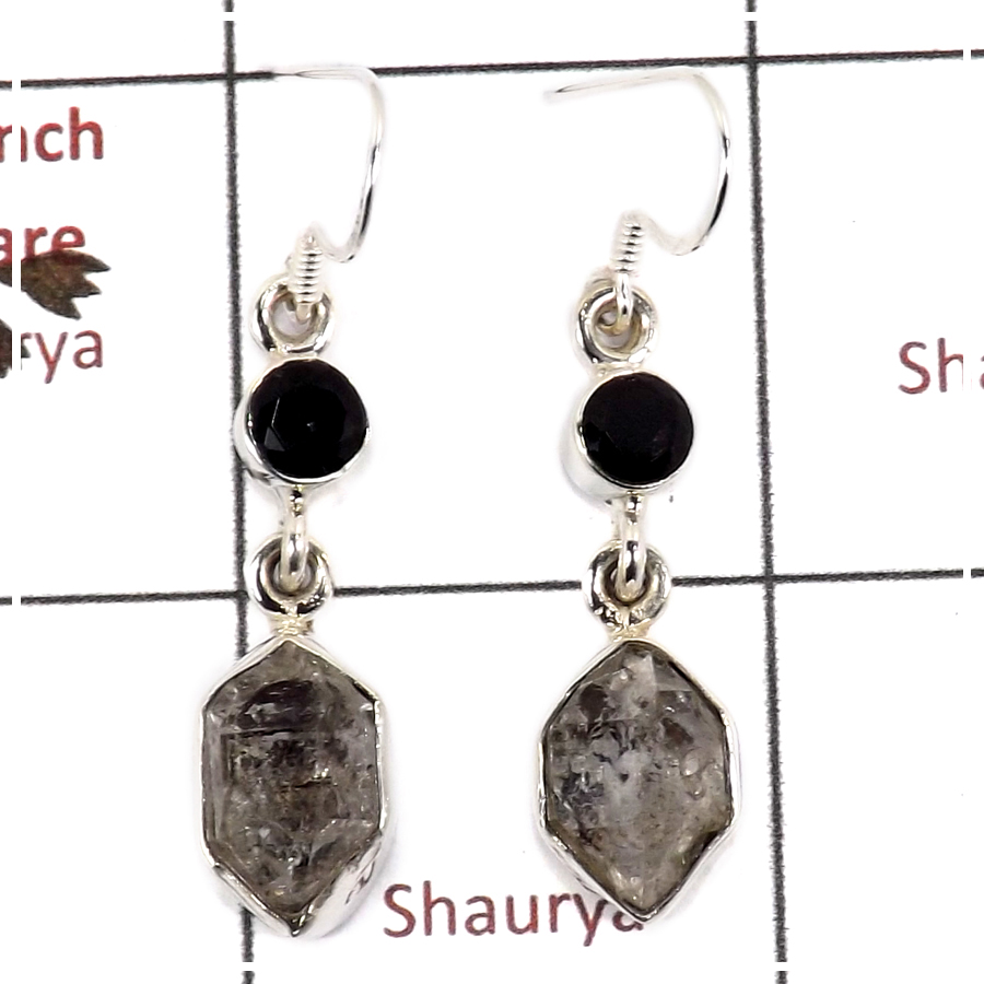 Herkimer Diamond Rough & Black Onyx Cut E - SPE812-Solid 925 Silver Plain Setting Rough Gemstone Earrings Handmade Design