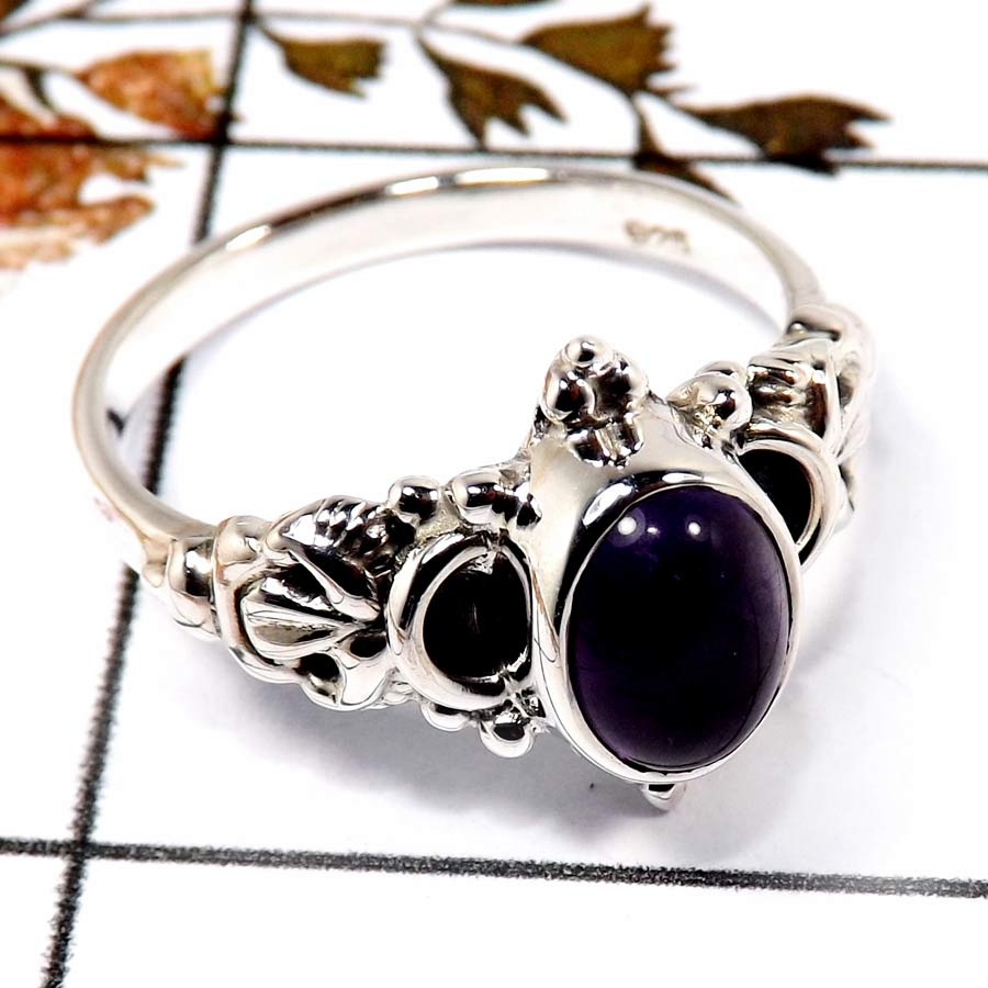Amethyst Cab O - BDR951-Stunning Cab Gemstone Light Weight Ring 925 Sterling Silver