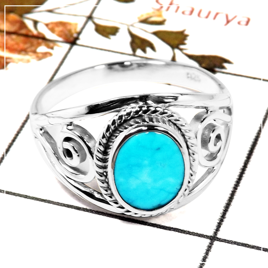 Arizona Sleeping Beauty Turquoise F - SDR585-Exclusive Party Wear Cab Gemstone Solitaire Ring 925 Sterling Silver