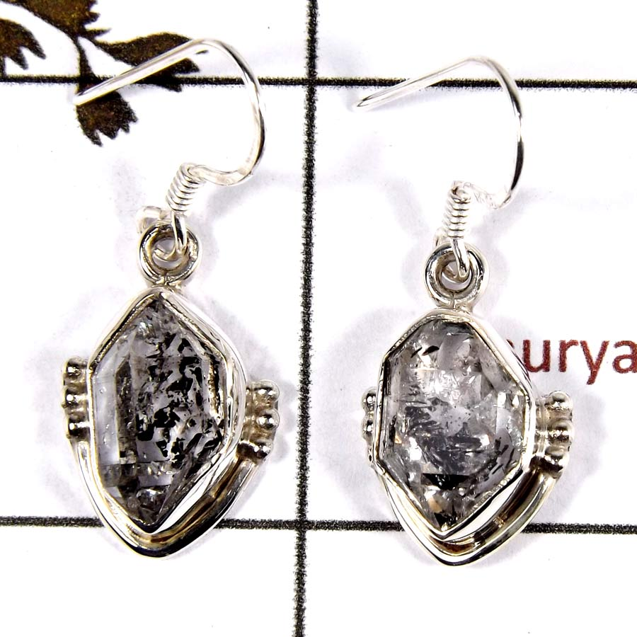 Herkimer Diamond D - SDE695-Solid 925 Sterling Silver Designer Dangle Earrings Cab & Cut Gemstone