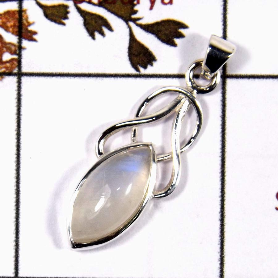 Rainbow Moonstone Cab D - SD566-Part Wear Cut Gemstone Designer Pendant 925 Sterling Silver