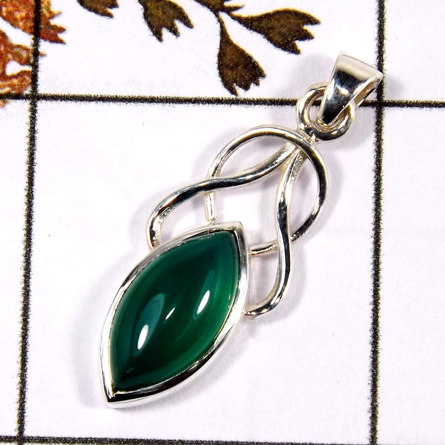 Green Onyx Cab F - SD566-Part Wear Cut Gemstone Designer Pendant 925 Sterling Silver