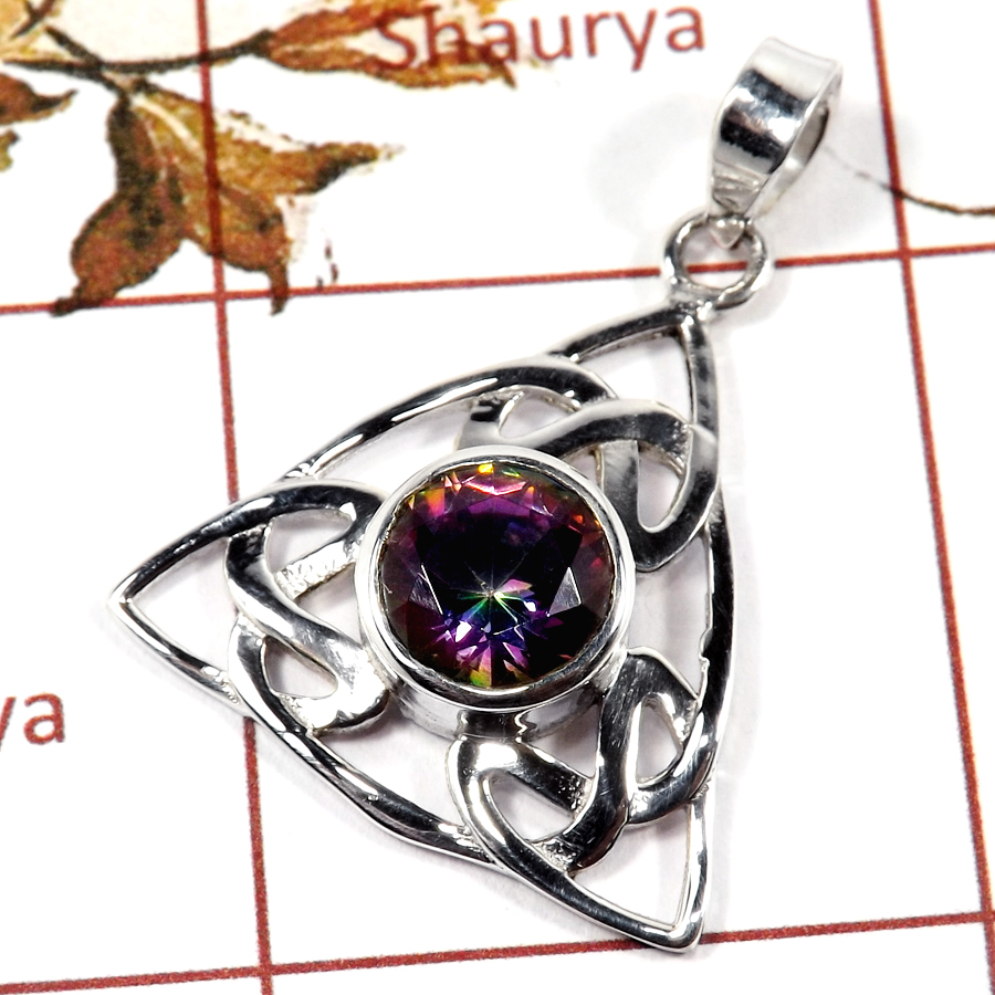 Mystic Cut B - SD558-925 Silver Celtic knot Triquetra Design Pendant Amazing Cut Gemstone
